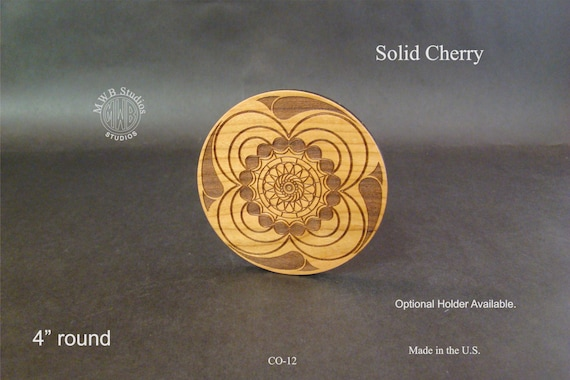 Solid Cherry Wood Coaster set of 4 with free shipping. CO-12