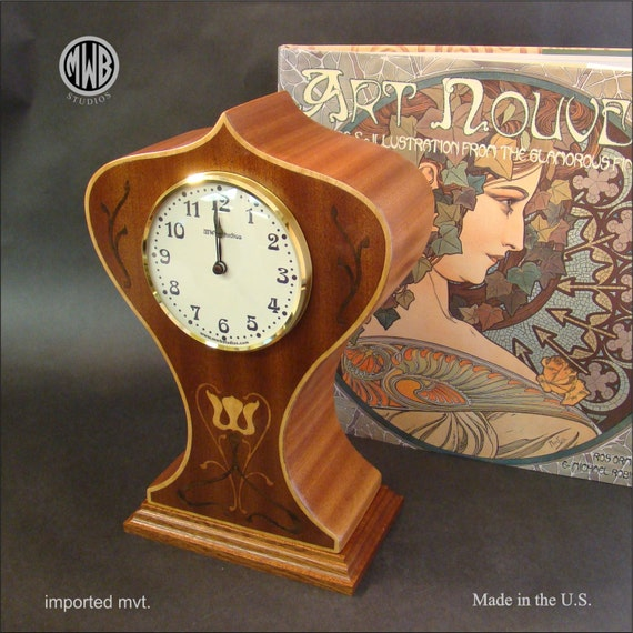 Clock, Art Nouveau Motif Mantle Clock with Inlaid Design. MC-6 Free Shipping within the U.S.