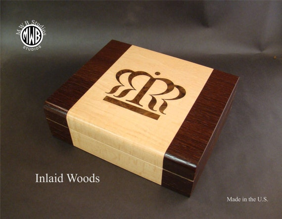 Humidors with Inlaid Woods. Handcrafted in the U.S. - HD-24 Free Engraving, Free shipping within the U.S.
