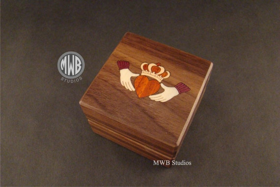 Engagement Ring Box Inlaid Irish Clad.  Free Shipping and Engraving.  RB-62