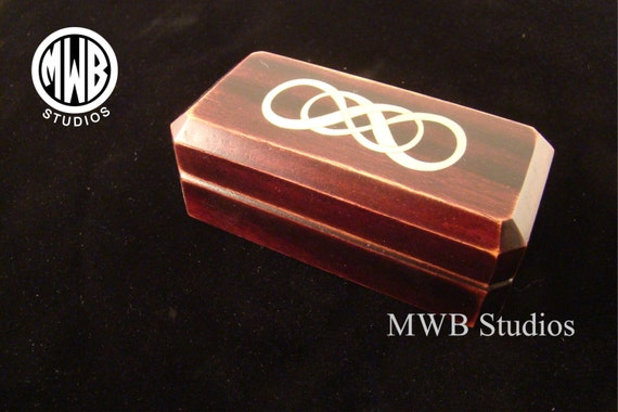 Double Ring Box with Inlaid Double Infinity Symbol.  Free Shipping and Engraving. DRB-86