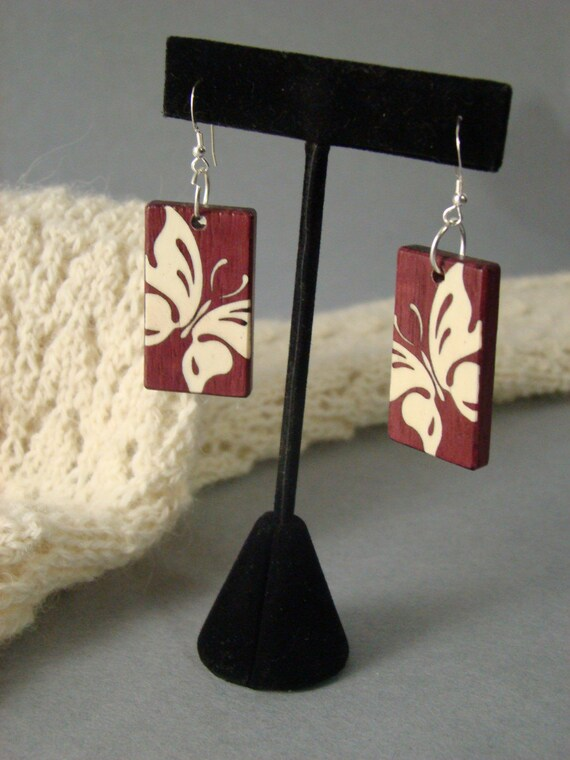 Inlaid Butterfly earrings of purpleheart and holly with free shipping.