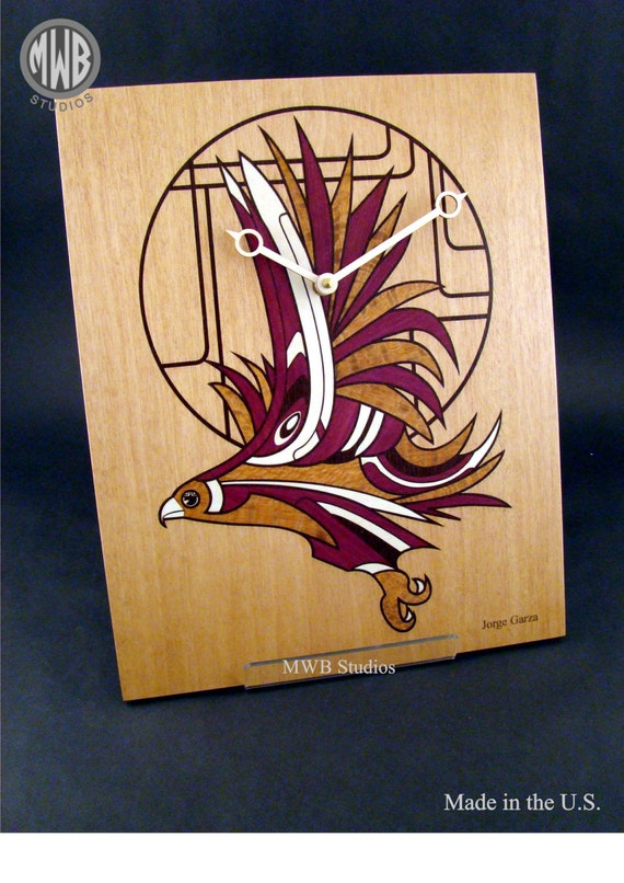Wall Clock by Jorge Garza and MWB Studios with Inlaid Deco Hawk. WC-16 Free Engraving, Free Shipping within the U.S.