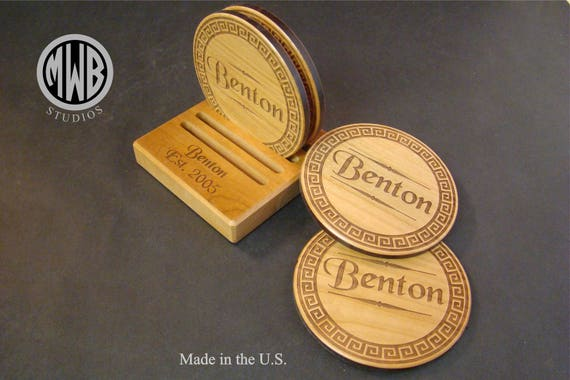 Coaster Holder for set of 4 with free shipping and engraving.  COH-1