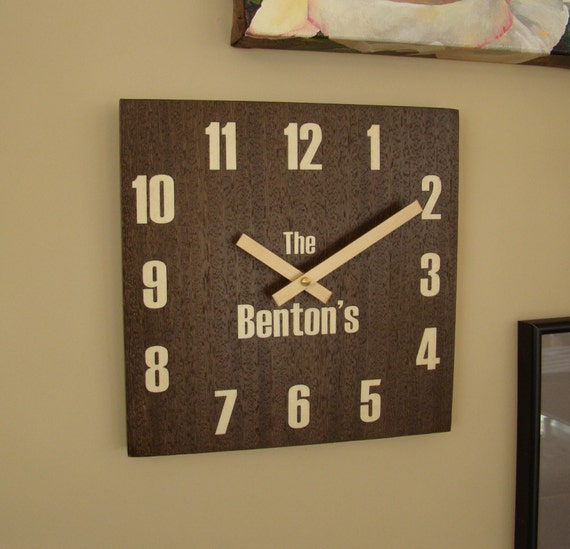 "Wall Clock 12"" x 12"" of Wenge Inlaid with Figured Maple with Family Name. WC-11 Free Shipping within the U.S."