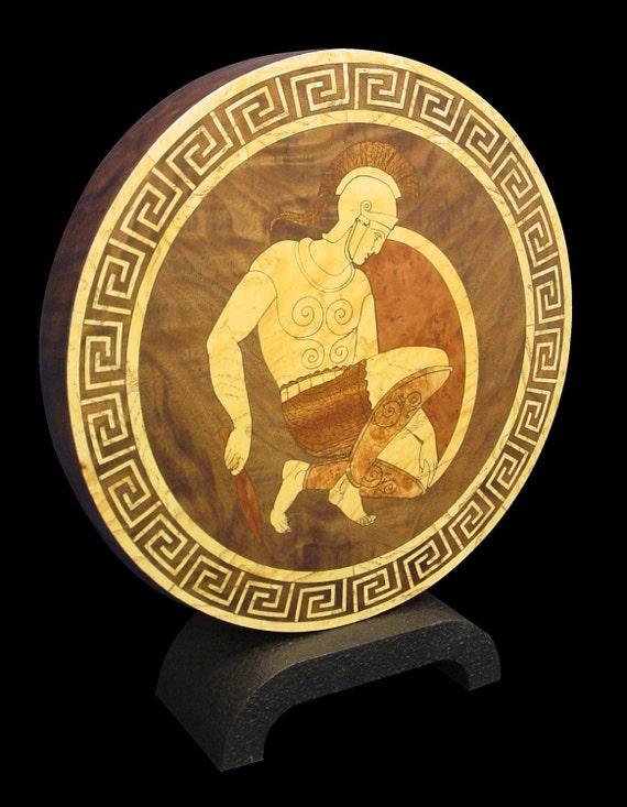 Greek Warrior Kneeling Inlaid Home Accent Piece