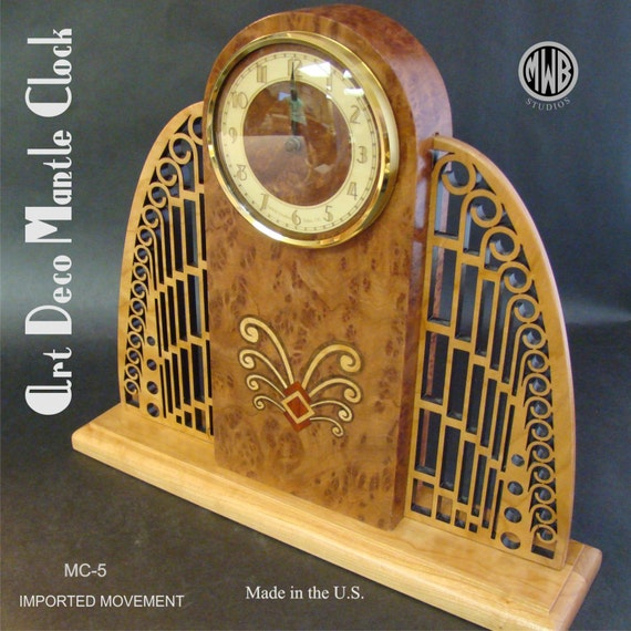 Clock, Inlaid Art Deco Mantle Clock with Pierced Wings. MC-5 Free Shipping within the U.S.