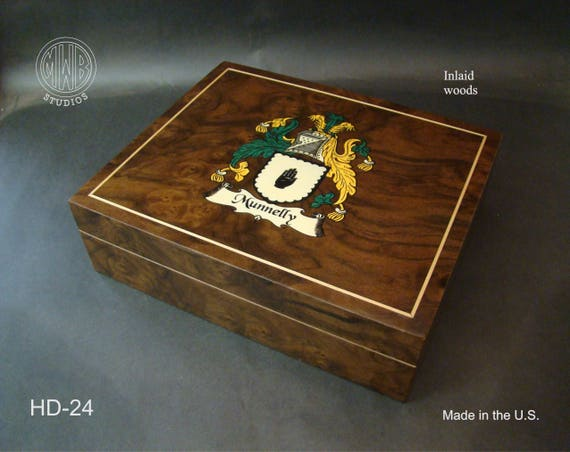 Humidor Inlaid Family Crest Handcrafted in the U.S.  HD-24 Free Engraving, Free Shipping within the U.S.