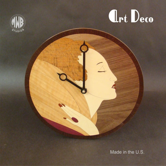 Wall Clock with Art Deco Female Inlay. WC-19 Free Engraving, Free Shipping within the U.S.