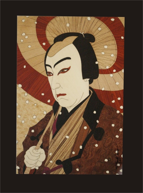 Wall Decor, Kabuki Actor Wood Block Inlay