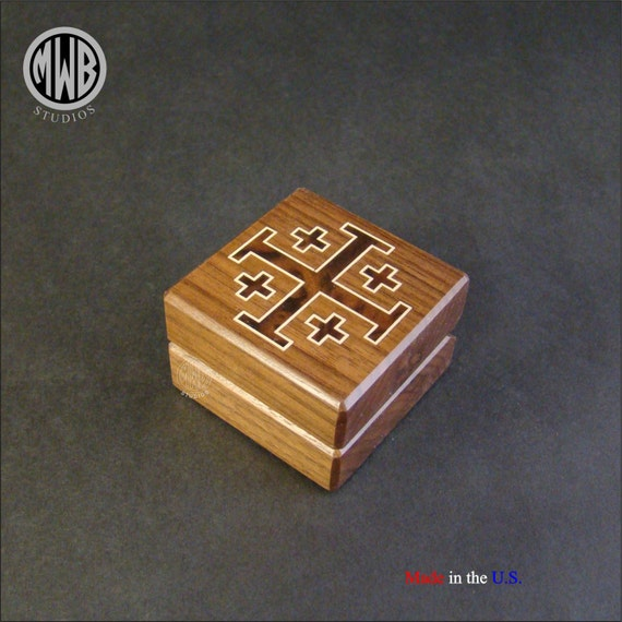 Ring Box with Inlaid Jerusalem Cross. Free Shipping and Engraving.