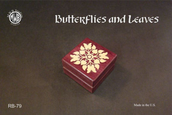 Ring Box with Inlaid Butterflies and Leaves. Free Shipping and Engraving. RB-79