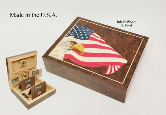 Handcrafted humidor made in the U.S. by American Craftsmen.  Free engraving and shipping. Available in 4 sizes.