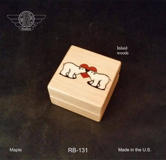 Ring Box Inlaid with Polar Bears. Free Shipping and Engraving. RB-131