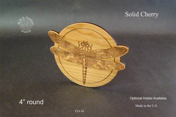 Solid Cherry Dragonfly wood coaster, set of 4. Free Shipping.  CO-16