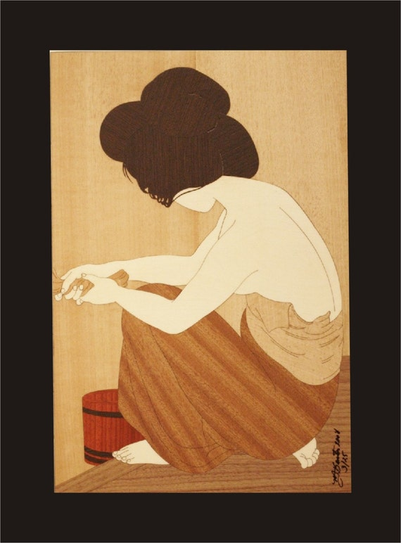 Wall Decor, Japanese Woodblock Inlay.