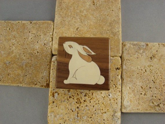 Engagement Ring Box, with Inlaid Rabbit. Free Shipping and Engraving. RB-30