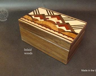 Art Deco wood jewelry/keepsake box with inlaid top and free shipping.  JB-3