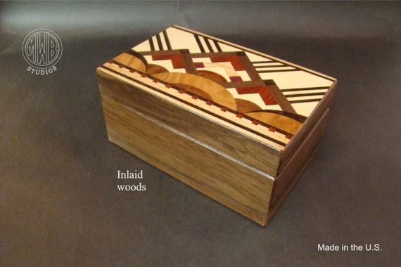 Art Deco wood jewelry/keepsake box with inlaid top and free shipping.  JB-3