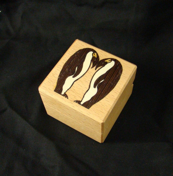 Ring Box With Inlaid Penguin. Free Shipping and Engraving. RB-28