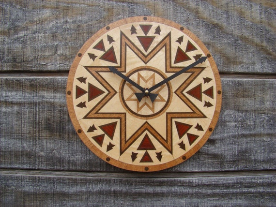"Wall Clock ""The Meeting Place"" A Native American Design. WC-15 Free Engraving, Free Shipping within the U.S."