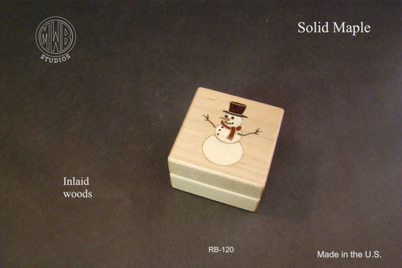 Ring Box with Inlaid Snowman for the Christmas Season.  Free Shipping and Engraving. RB-120