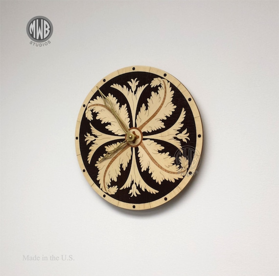 Wall Clock,Acanthus Leaf with Inlaid Holly and Wenge. WC-22 Free Engraving, Free Shipping within the U.S.