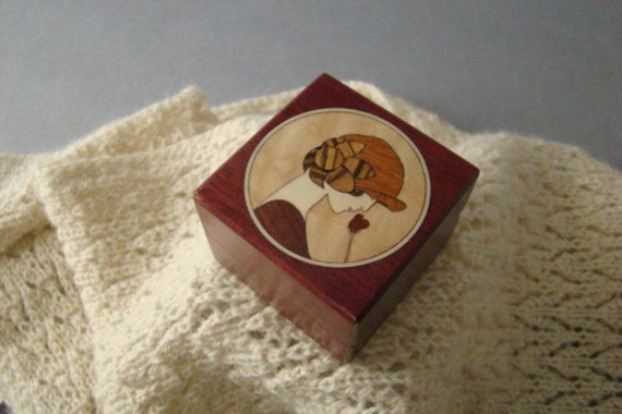 Ring Box with Inlaid Art Deco Girl and Rose. Free Shipping and Engraving. RB-2