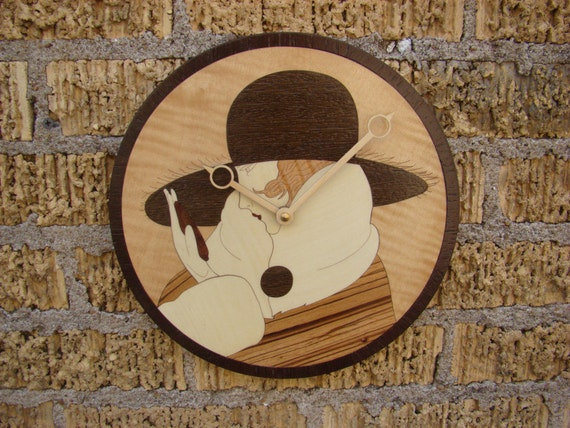 Wall Clock with Art Deco Female Inlay. WC-6 Free Engraving, Free Shipping within the U.S.