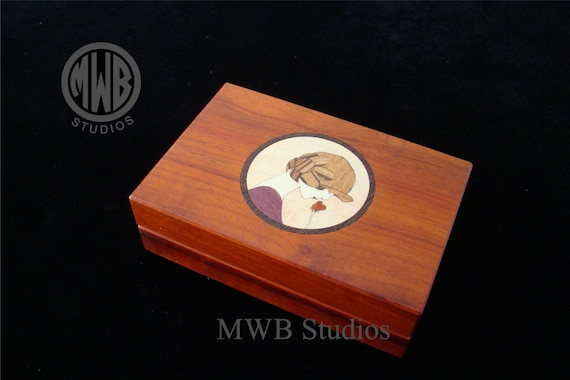 Inlaid Art Deco female jewelry box with free shipping and engraving