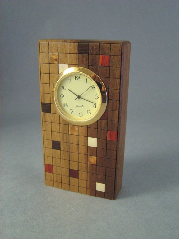 Clock Made of Walnut with Inlaid Squares. MDC-5 Free Shipping within the U.S.