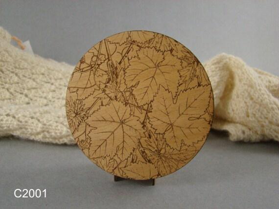 Solid Wood Coaster Set of 4, Leaf Design, Free Shipping.  CO-22