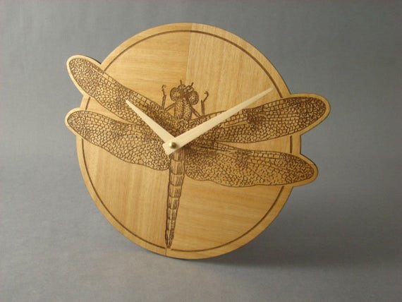 Wall Clock with Engraved Dragonfly. WC-12 Free Shipping within the U.S.