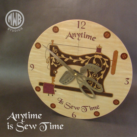 "Wall Clock of Inlaid Woods ""Anytime is Sew Time"". WC-9 Free Shipping within the U.S."
