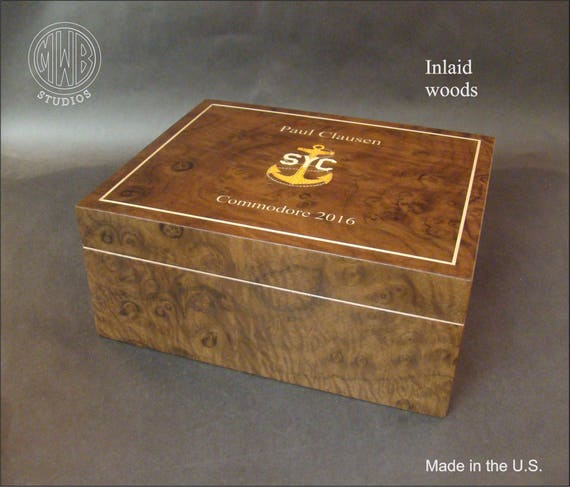 Handcrafted inlaid custom humidor.  HD-50.  Free shipping within the U.S.