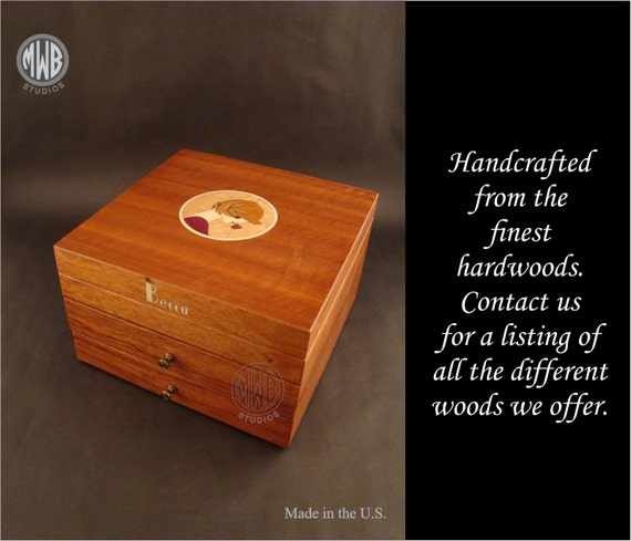 Inlaid Handcrafted Jewelry Box with free engraving.