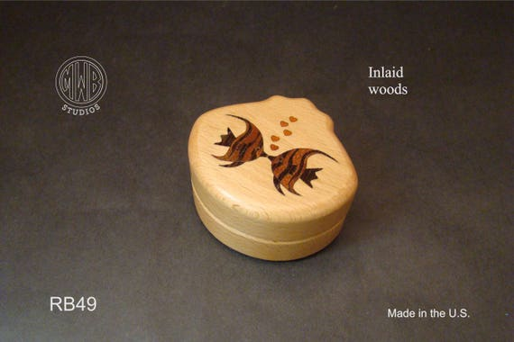 Ring Box with Inlaid Kissing Fish. Free Shipping and Engraving. RB-49