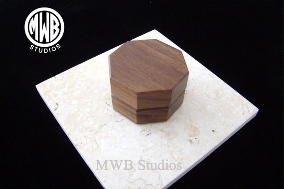 Ring Box Solid Walnut, Octagon shape .  Free Shipping and Engraving. RB-86