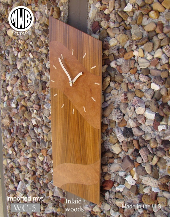 Wall Clock Contemporary Theme Rosewood and Madrone Burl. WC-5 Free Engraving, Free Shipping within the U.S.