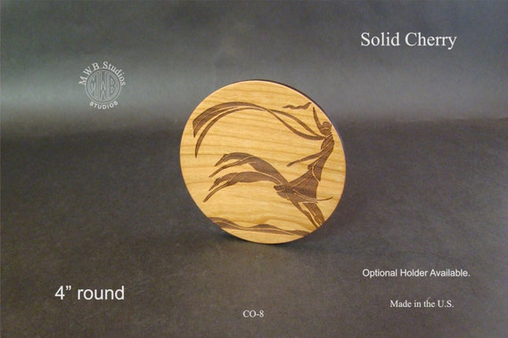 Solid Cherry Wood Coaster set of 4 with Free shipping.  CO-8