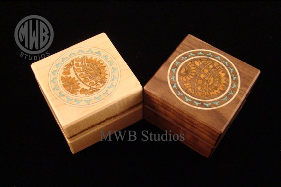 Engagement Ring Box, Southwest Design with Turquoise.  Free Shipping and Engraving. RB-61