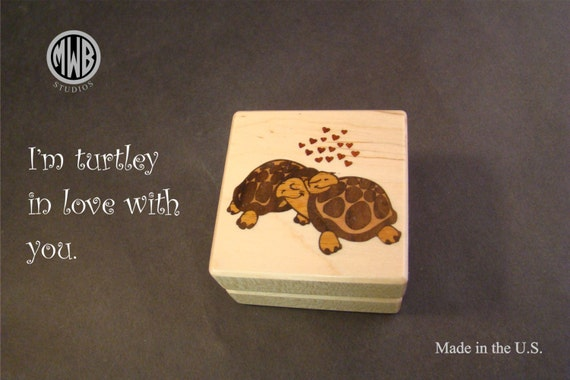 Ring Box with 2 Inlaid Turtle. Free Shipping and Engraving. RB-93