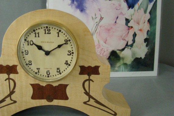 Clock, Art Nouveau Inspired. MC24. Free Engraving, Free Shipping within the U.S.