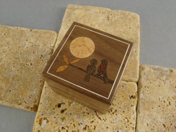 Engagement Ring Box made of Walnut with Two Birds Inlaid.  Free Shipping and Engraving. RB-34