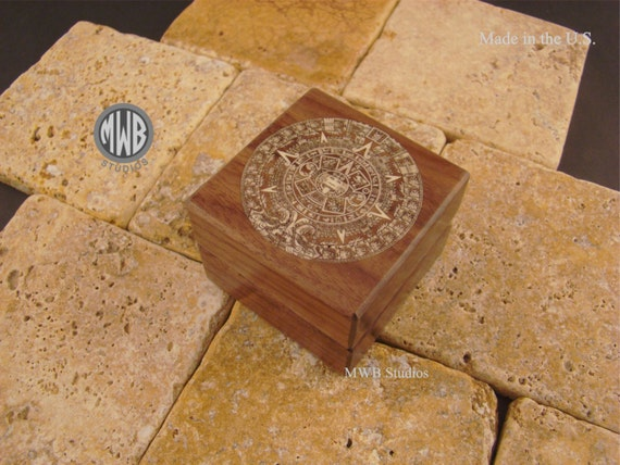 Ring Box Inlaid With Aztec Calendar. Free Shipping and Engraving. RB-80