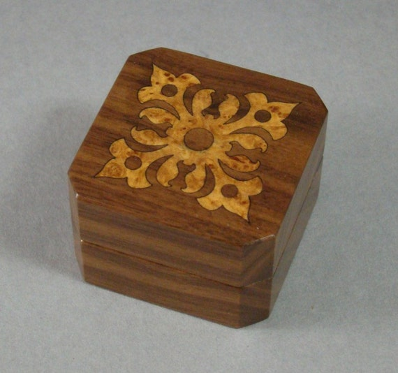 Ring Box of Solid Walnut with Inlaid Madrone Burl. Free Shipping and Engraving. RB-22