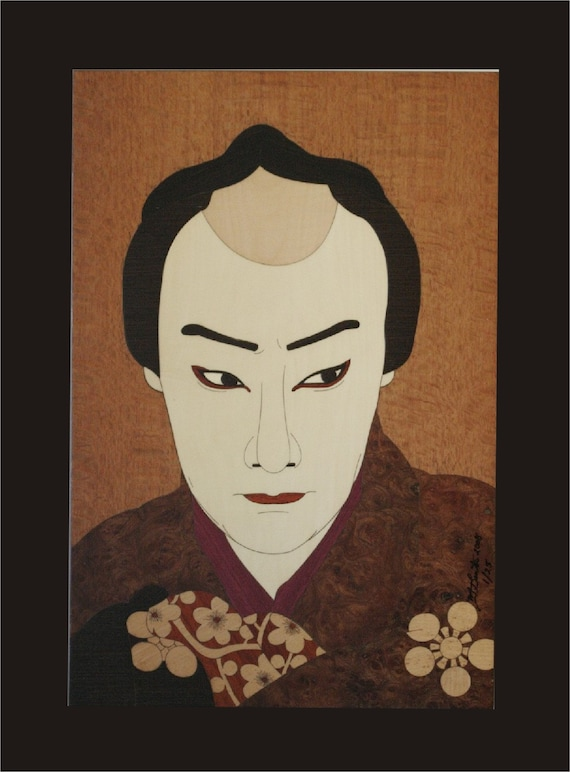 Wall Decor, Kabuki Actor Woodblock Inlay.