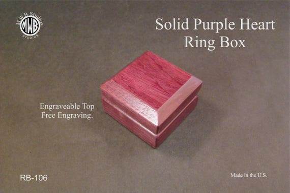 Ring Box with Solid Purple Heart. Free Shipping and Engraving. RB-106