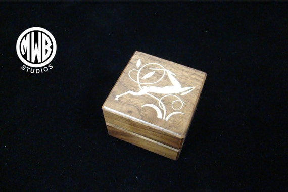 Ring Box of Walnut Inlaid with Art Deco Style Gazelle. Free Shipping and Engraving. RB-52