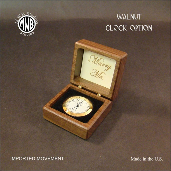 Clock, Option for Ring Box. MDC-9. Free Engraving, Free shipping within the U.S.
